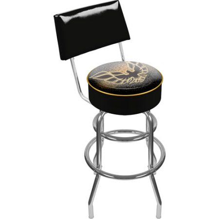 Gm1100-Fb-Blk Pontiac Firebird Black Padded Swivel Bar Stool With Back