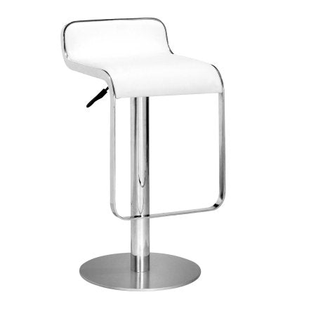 Zuo Modern 301113 Equino Barstool Color White Chromed Stainless Steel Finish