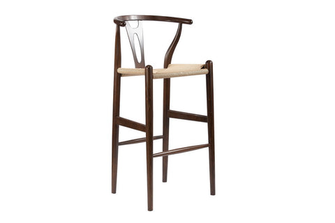 Wholesale Interiors BS-541A-Dark Brown Mid-Century Modern Wishbone Stool - Dark Brown Wood Y Stool - Each