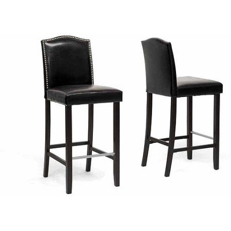 Wholesale Interiors BBT5111 Bar Stool-Black Libra Black Modern Bar Stool with Nail Head Trim - Set of 2