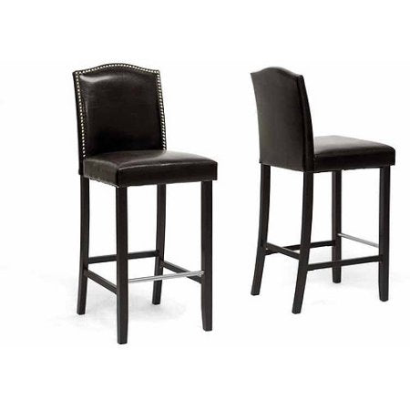 Wholesale Interiors BBT5111 Bar Stool-Brown Libra Dark Brown Modern Bar Stool with Nail Head Trim - Set of 2