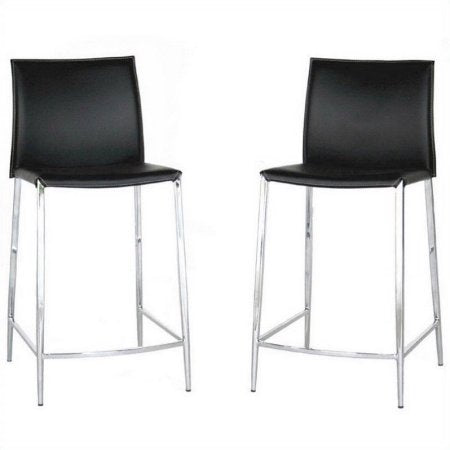Wholesale Interiors ALC-1899A-65 Black Jenson Black Leather Counter Height Stool - Set of 2