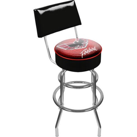 Gm1100-Fb-Red Pontiac Firebird Red Padded Swivel Bar Stool With Back