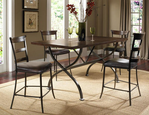 Hillsdale 4671CTBRS5 Cameron 5-Piece Counter Height Rectangle Wood Dining Set w/Ladder Back Stool - HillsdaleSuperStore