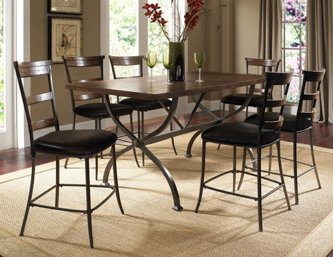 Hillsdale 4671CTBRS57 Cameron 7-Piece Counter Height Rectangle Wood Dining Set w/Ladder Back Stool - HillsdaleSuperStore