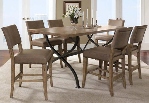 Hillsdale 4670CTBRS47 Charleston 7-Piece Counter Height Rectangle Wood Dining Set w/Parson Stool - HillsdaleSuperStore
