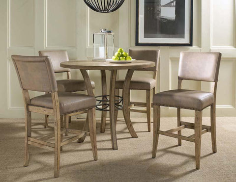 Hillsdale 4670CTBWS4 Charleston 5-Piece Counter Height Round Wood Dining Set w/Parson Stool - HillsdaleSuperStore