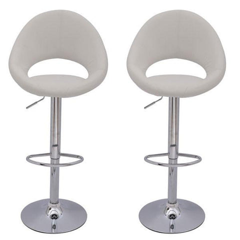 Mochi Furniture Adjustable Lowell Gas Lift Swivel Stool - White (Set of 2) - BarstoolDirect.com