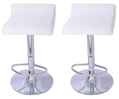Mochi Furniture Adjustable Lanham Gas Lift Swivel Stool - White (Set of 2) - BarstoolDirect.com