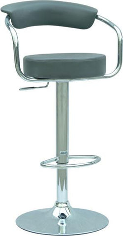 "Chintaly 0326-AS-GRY Pneumatic Gas Lift Adjustable Height Swivel Stool - 25"" - 33"" - BarstoolDirect.com"