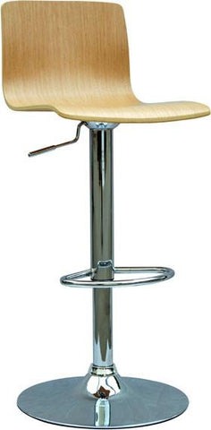 "Chintaly 0353-AS Bent Wood Pneumatic Gas Lift Adjustable Height Swivel Stool - 23"" - 31"" - BarstoolDirect.com"