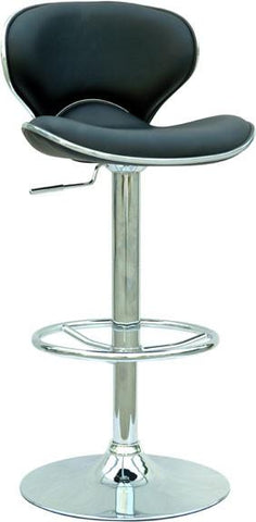 "Chintaly 0364-AS-BLK Pneumatic Gas Lift Adjustable Height Swivel Stool - 25"" - 33.5"" - BarstoolDirect.com"