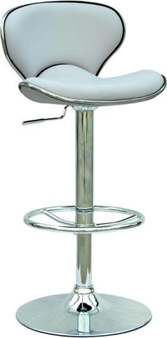 "Chintaly 0364-AS-WHT Pneumatic Gas Lift Adjustable Height Swivel Stool - 25"" - 33.5"" - BarstoolDirect.com"
