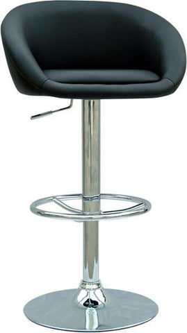"Chintaly 0380-AS-BLK Pneumatic Gas Lift Adjustable Height Swivel Stool - 25"" - 33"" - BarstoolDirect.com"