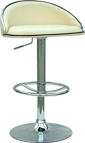 "Chintaly 0388-AS-CRM Pneumatic Gas Lift Adjustable Height Swivel Stool - 24"" - 32"" - BarstoolDirect.com"
