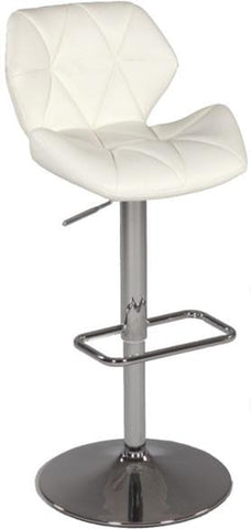 "Chintaly 0645-AS-WHT Pneumatic Gas Lift Swivel Height Stool - 32.28"" - 41.93"" - BarstoolDirect.com"