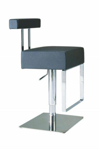 "Chintaly 0812-AS-BLK Pneumatic Gas Lift Adjustable Height Swivel Stool - 21"" - 29"" - BarstoolDirect.com"