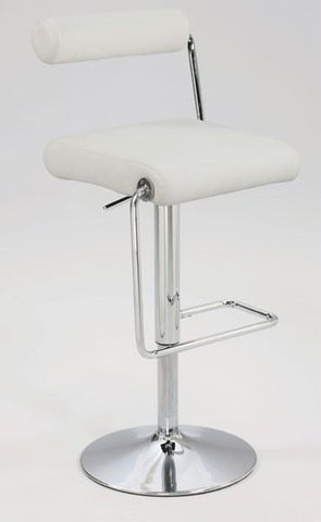 "Chintaly 0979-AS-WHT Roll Back Pneumatic Gas Lift Adjustable Height Swivel Stool - 23"" - 32"" - BarstoolDirect.com"