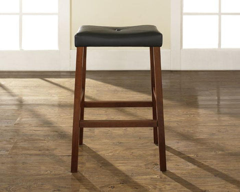 Crosley Furniture CF500229-CH Upholstered Saddle Seat Bar Stool in Classic Cherry Finish with 29 Inch Seat Height - Set of 2 - BarstoolDirect.com