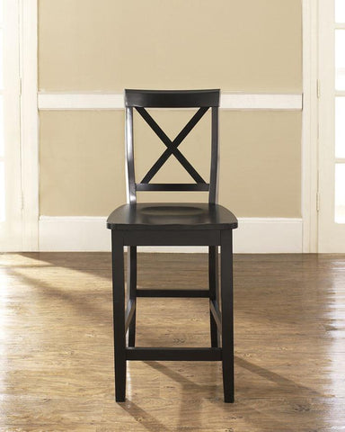 Crosley Furniture CF500424-BK X-Back Bar Stool in Black Finish with 24 Inch Seat Height - Set of 2 - BarstoolDirect.com