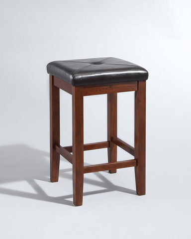 Crosley Furniture CF500524-MA Upholstered Square Seat Bar Stool in Vintage Mahogany Finish with 24 Inch Seat Height - Set of 2 - BarstoolDirect.com