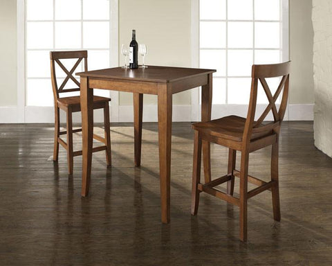 Crosley Furniture KD320001CH 3 Piece Pub Dining Set with Cabriole Leg and X-Back Stools in Classic Cherry Finish - BarstoolDirect.com
