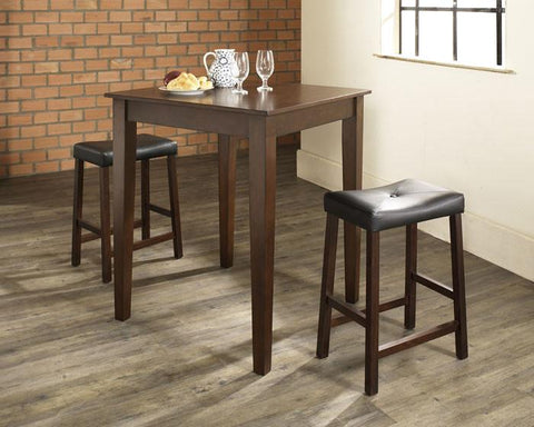 Crosley Furniture KD320008MA 3 Piece Pub Dining Set with Tapered Leg and Upholstered Saddle Stools in Vintage Mahogany  Finish - BarstoolDirect.com