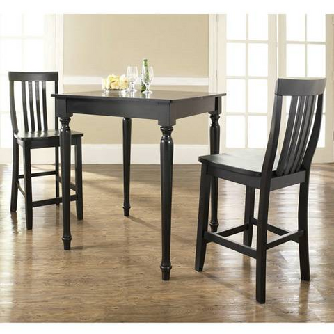 Crosley Furniture 3 Piece Pub Dining Set with Turned Leg and School House Stools in Black Finish - BarstoolDirect.com