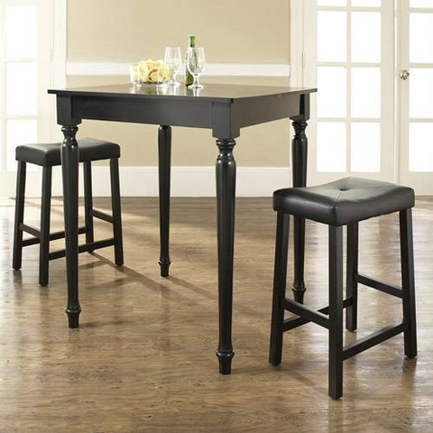 Crosley Furniture 3 Piece Pub Dining Set with Turned Leg and Upholstered Saddle Stools in Black Finish - BarstoolDirect.com