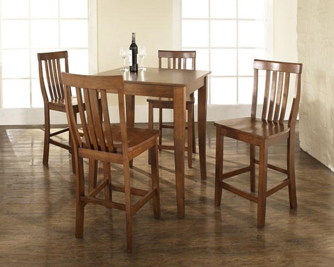 Crosley Furniture KD520003CH 5 Piece Pub Dining Set with Cabriole Leg and School House Stools in Classic Cherry Finish - BarstoolDirect.com