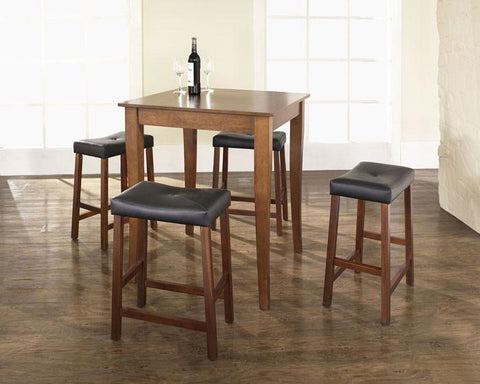 Crosley Furniture KD520004CH 5 Piece Pub Dining Set with Cabriole Leg and Upholstered Saddle Stools in Classic Cherry  Finish - BarstoolDirect.com
