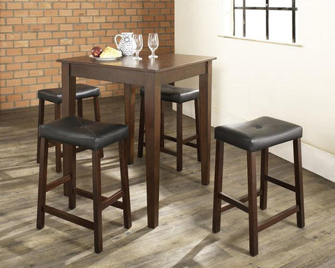 Crosley Furniture KD520008MA 5 Piece Pub Dining Set with Tapered Leg and Upholstered Saddle Stools in Vintage Mahogany  Finish - BarstoolDirect.com