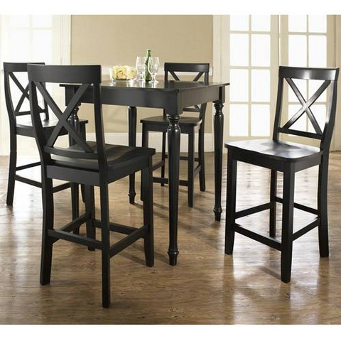 Crosley Furniture KD520009BK 5 Piece Pub Dining Set with Turned Leg and X-Back Stools in Black Finish - BarstoolDirect.com