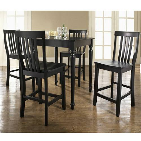 Crosley Furniture KD520011BK 5 Piece Pub Dining Set with Turned Leg and School House Stools in Black Finish - BarstoolDirect.com