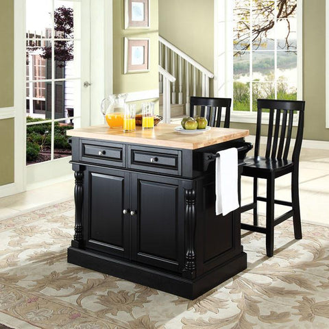 "Crosley Furniture KF300062BK Butcher Block Top Kitchen Island in Black Finish with 24"" Black School House Stools - BarstoolDirect.com"