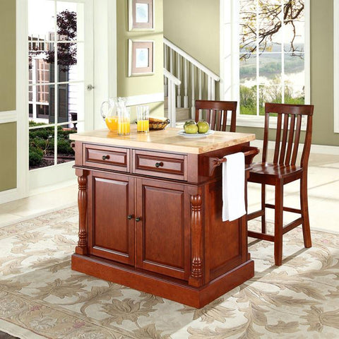 "Crosley Furniture KF300062CH Butcher Block Top Kitchen Island in Cherry Finish with 24"" Cherry School House Stools - BarstoolDirect.com"
