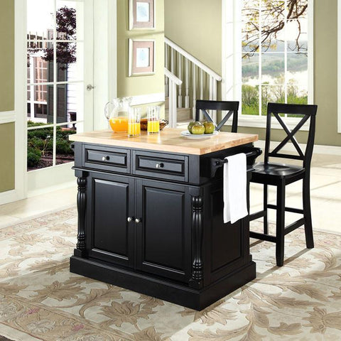 "Crosley Furniture KF300063BK Butcher Block Top Kitchen Island in Black Finish with 24"" Black X-Back  Stools - BarstoolDirect.com"