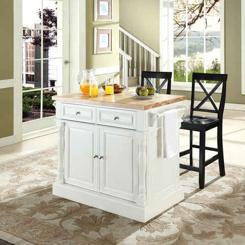 "Crosley Furniture KF300063WH Butcher Block Top Kitchen Island in White Finish with 24"" Black X-Back  Stools - BarstoolDirect.com"