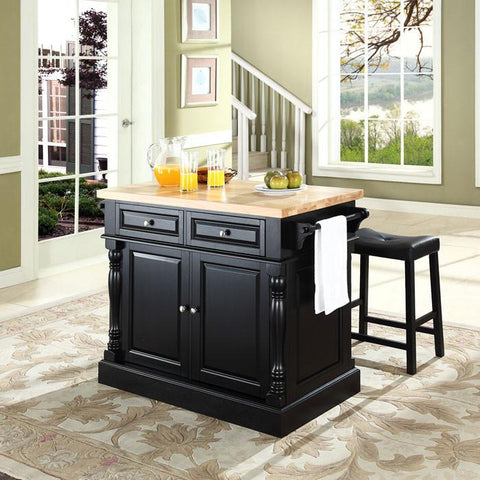 "Crosley Furniture KF300064BK Butcher Block Top Kitchen Island in Black Finish with 24"" Black Upholstered Saddle Stools - BarstoolDirect.com"