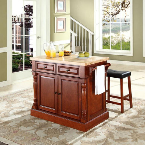 "Crosley Furniture KF300064CH Butcher Block Top Kitchen Island in Cherry Finish with 24"" Cherry Upholstered Saddle Stools - BarstoolDirect.com"