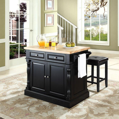 "Crosley Furniture KF300065BK Butcher Block Top Kitchen Island in Black Finish with 24"" Black Upholstered Square Seat  Stools - BarstoolDirect.com"
