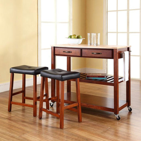 "Crosley Furniture KF300514CH Natural Wood Top Kitchen Cart/Island in Classic Cherry Finish With 24"" Cherry Upholstered Saddle Stools - BarstoolDirect.com"