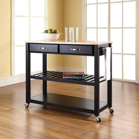 Crosley Furniture KF30051BK Natural Wood Top Kitchen Cart/Island With Optional Stool Storage in Black Finish - BarstoolDirect.com
