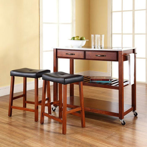 "Crosley Furniture KF300524CH Stainless Steel Top Kitchen Cart/Island in Classic Cherry Finish With 24"" Cherry Upholstered Saddle Stools - BarstoolDirect.com"