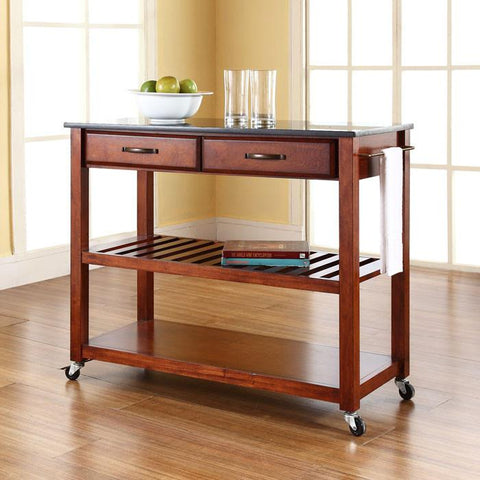 Crosley Furniture KF30054CH Solid Black Granite Top Kitchen Cart/Island With Optional Stool Storage in Classic Cherry Finish - BarstoolDirect.com