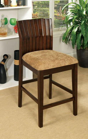 Furniture of America IDF-3332PC Walnut Padded Seat Counter Height Chair (set of 2) - BarstoolDirect.com