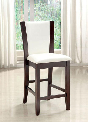Furniture of America IDF-3710WH-PC White Leatherette Hardwood Counter Height Chair (set of 2) - BarstoolDirect.com
