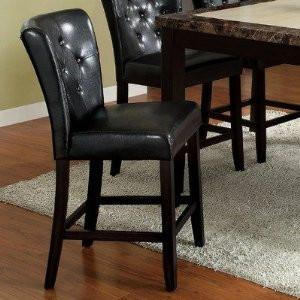 Furniture of America IDF-3871BK-PC Dark Espresso Leatherette Counter Height Chair (Set of 2) - BarstoolDirect.com