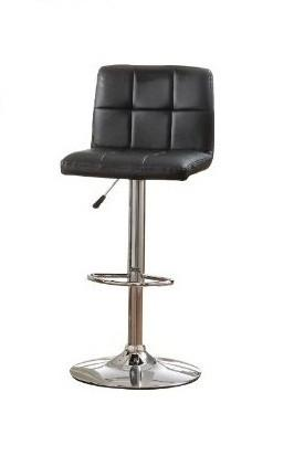 Furniture of America IDF-BR6904BK Tufted Black Leatherette Adjustable Bar Stool - BarstoolDirect.com