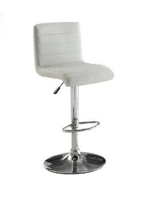Furniture of America IDF-BR6905WH White Leatherette Adjustable Bar Stool - BarstoolDirect.com